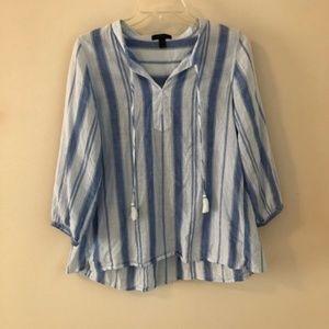 J. Crew • blue striped tassel popover top